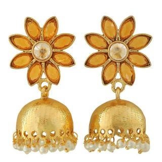 Maayra Dashing Orange White Indian Ethnic Ceremony Jhumki Earrings