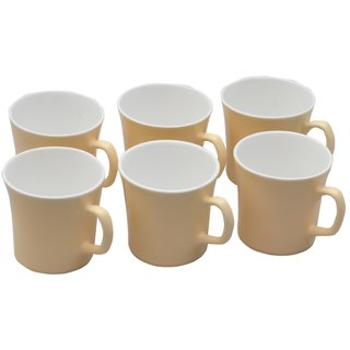 Potters Story Yellow Ceramic Coffee Mug Set Of 6 For Gifts (140 Ml  7 Cm)-Lc2028