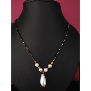 gold plated pearl mangalustra with single line chain casual and office wear