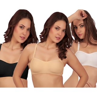 Sona Black /Skin /White Blsm Everyday Demi Cup Non-Padded  Multiway T-Shirt Bra