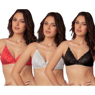 Sona Red /White /Black WomenS L002 Lace Full Coverage Bra