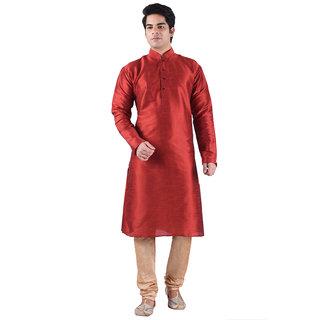 Sanwara Red Silk Blend Long Kurta  Pyjama Sets For Men