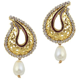 Biyu Antique Designe Gold Plated Cz Pearl Earring Set