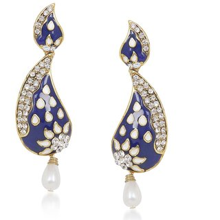 Nifty Biyu Cubiz Zirconia Studded Blue Coloured Earrings