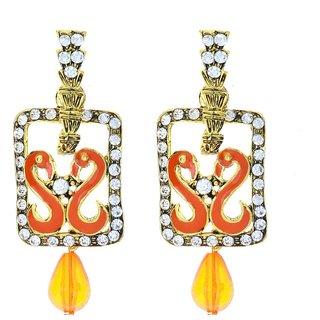 Sassy Biyu Cubiz Zirconia Studded Orange Coloured Earrings