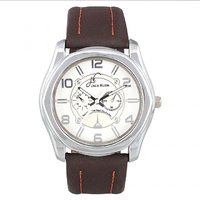 Jack Klein Round Dial Leather Strap Elegant Analogue Wrist Watches For Men