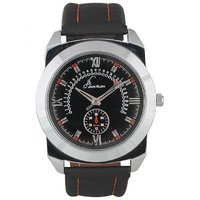 Jack Klein Round Dial Black Leather Strap Trendy Analogue Wrist Watches For Men