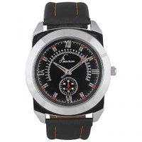 Jack Klein Round Dial Black Leather Strap Trendy Analogue Wrist Watches For Men