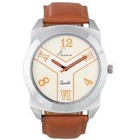Jack Klein Round Dial Brown Strap Elegant Analogue Wrist Watches For Men