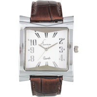 Jack Klein Rectengular White Dial Leather Strap Wrist Watch For Men