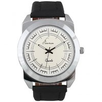 Jack Klein Round Dial Black Leather Strap Elegant Analog Wrist Watches For Men