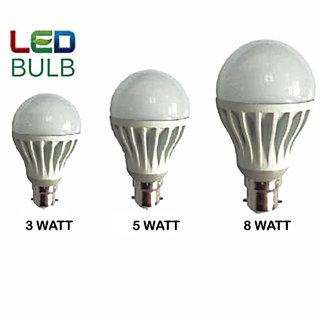 BRIO Led Bulb Combo 3W 5W 8W (Pack Of 3)