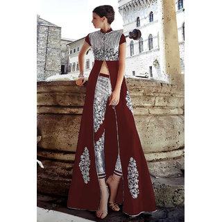 Thankar Maroon  Silver Embroidered Banglori Silk Anarkali Suit