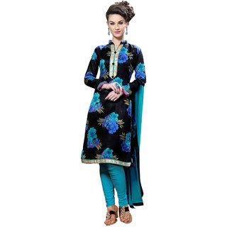 Parisha Black Cotton Printed Salwar Suit Dress Material