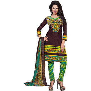 PARISHA Dark Brown Printed Un-Stitched Chudidar Suit KFKPGS15