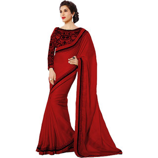 Glory Sarees Red Satin Chiffon Party Wear Saree