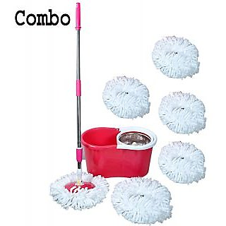 Best Home Red Steel Mop With 6 Micro Fiber