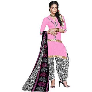 Parisha Pink Crepe Printed Salwar Suit Dress Material