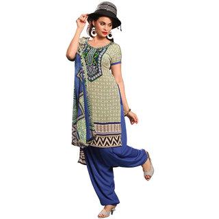 Parisha Beige Crepe Printed Salwar Suit Dress Material
