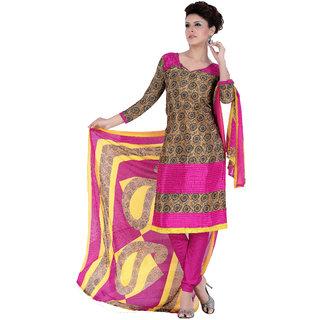 Parisha Beige Crepe Printed Kurta & Churidar Dress Material