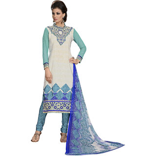 PARISHA Cream  Sky Blue Embroidered Un-Stitched Chudidar Suit KFVRVMTR6014