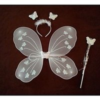 White Fairy Butterfly Wings Costume for Girl Angel Birthday Party and Gifts