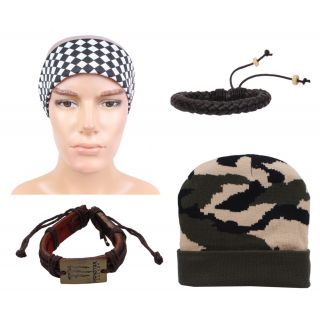 sushito Millitary Colour Winter Cap With Stylish Headwrap  Wrist Band  JSMFHCP1407-JSMFHWB0924-JSMFHHR0193