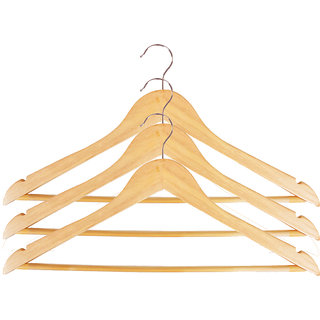 Set of 3 wooden cloth hangers (Premium import quality)