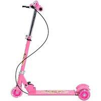 Folding Scooter For Kids - LED Lights On Wheels, Height Adjustable, Bell  Brake(Pink)
