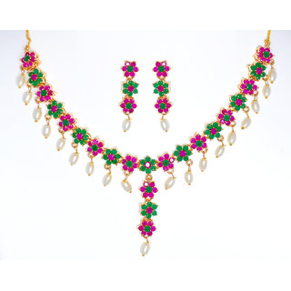 Hyderabadi Abhushan Multicolor Pink & Green Combination Necklace