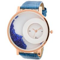 MXR Leather Strap Analogue Womens Round Dial Watch With Moving Beads - (Assorted Color)