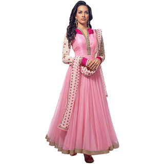 Fabnil Casual Wear Pink Colored Net Embroidered Dress Material