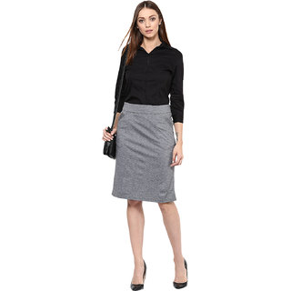Warm Grey Knitted Skirt