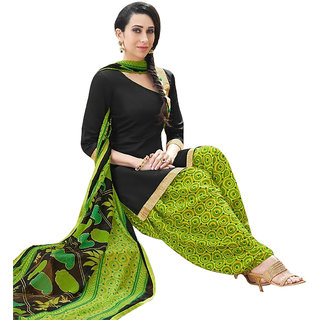 Zhot Fashion Black Cotton Printed Salwar Suit Dress Material