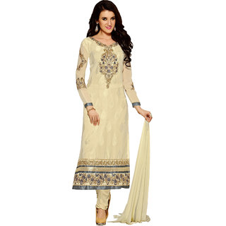 ZHot Fashion Womens Embroidered Un-stitched Dress Material In Brasso Fabric (ZHAO1002) Beige