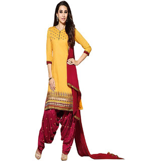 ZHot Fashion Womens Embroidered un-stitched Salwar Suit Material In Cotton Fabric (ZHKPT1004) Yellow