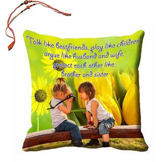 meSleep Brother  Sister Rakhi Cushion Cover (16x16) With Beautiful Rakhis