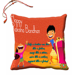 meSleep Happy Raksha Bandhan Cushion (With Filling - 16x16 Inches) With Beautiful Rakhis
