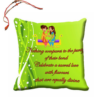 meSleep Happy Raksha Bandhan Cushion Cover (16x16) With Beautiful Rakhis