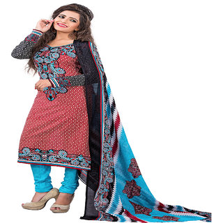 ZHot Fashion Womens Printed un-stitched Salwar Suit Material In Cotton Fabric (ZHPC1006) Multi