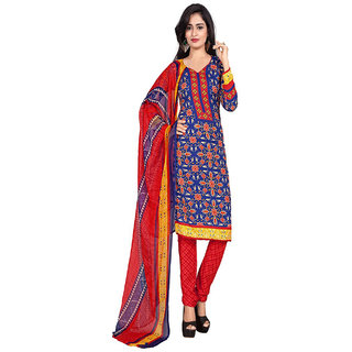 ZHot Fashion Womens Printed un-stitched Dress Material In Crepe Fabric (ZHPL1003) Blue