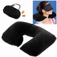 3 in 1 Tourist Treasure Air Travel Neck Pillow Cushion Car-Eye Maks Sleep Rest Shade-Ear Plug