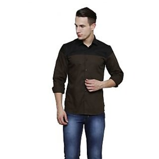 Rigo Olive with Black Yoke Detailing Slim Fit Casual Shirt