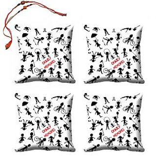 meSleep Bro  Sis Crazy Memories Rakhi Cushion Cover (16x16) - Set of 4, With Beautiful Rakhis