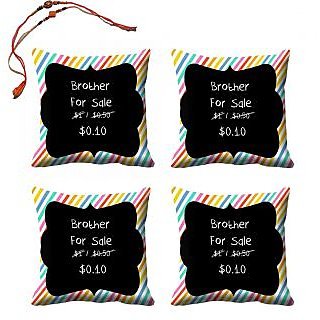 meSleep For Brother Rakhi Cushion Cover (16x16) - Set of 4, With Beautiful Rakhis