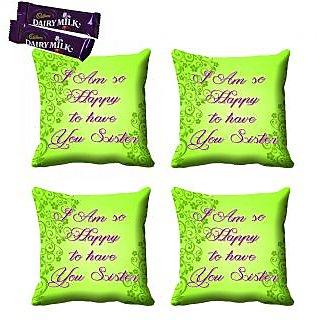 meSleep Green Sister Rakhi Cushion Cover (16x16) - Set of 4, With Chocolates