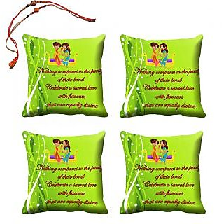 meSleep Happy Raksha Bandhan Cushion Cover (16x16) - Set of 4, With Beautiful Rakhis