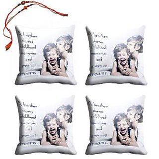 meSleep Bro  Sis Rakhi Cushion Cover (16x16) - Set of 4, With Beautiful Rakhis