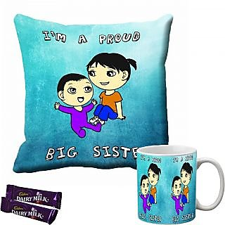 meSleep I Am Proud Big Sister Rakhi Cushion Cover and Mug Combo With Chocolates