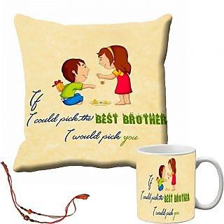 meSleep Rakhi Best Brother Cushion Cover and Mug Combo With Beautiful Rakhis